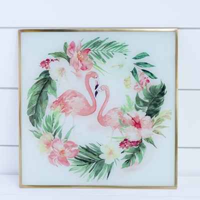 Flamingo Design Glass Wall Decor
