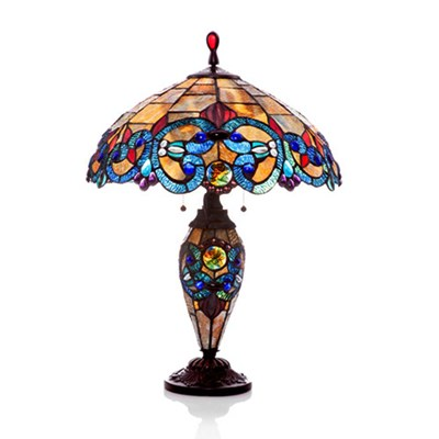 Tiffany Style Stained Glass Double-Lit Table Lamp - Amber