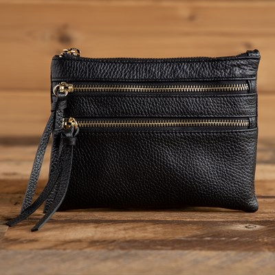 Two Zipper Crossbody - Black