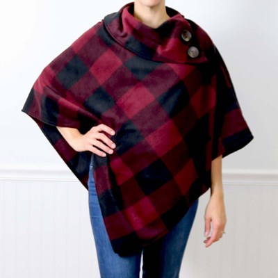 Burgundy Plaid Button Poncho