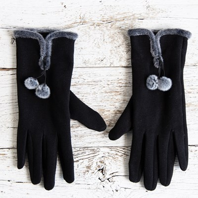 Black Pom Gloves