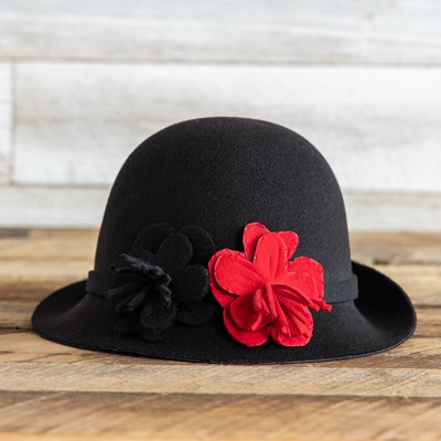 Black Cloche Hat with Flowers