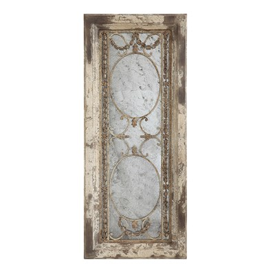 Distressed Pine and Metal Framed Mirror