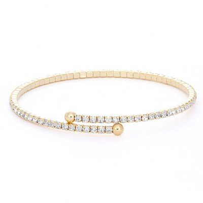 Crystal Gold Plated Flex Bangle Bracelet