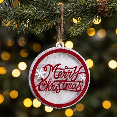 """Merry Christmas"" Wood Disc Ornament"
