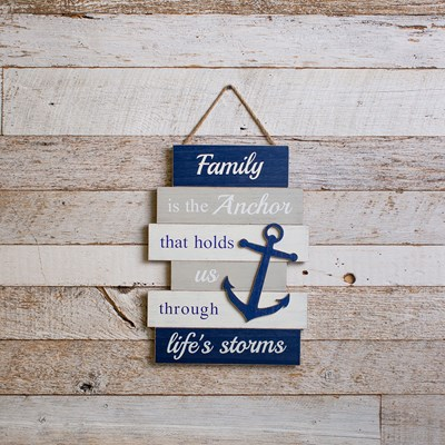 """Family is the Anchor"" Hanging Sign"