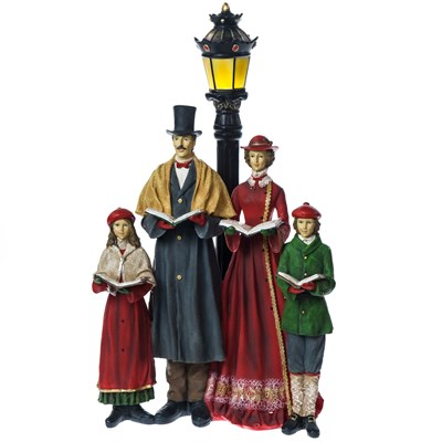 Carolers with LED Lamp Post Decor