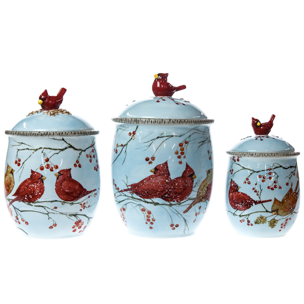 Winter Cardinal Stoneware Canisters - Set of 3 | Christmas ...