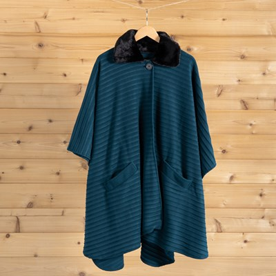 Teal Pleated Fur Collar Wrap