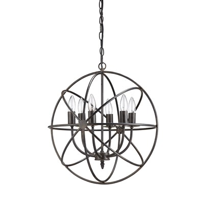 "18.5"" Round Metal Chandelier with 6 Lights"