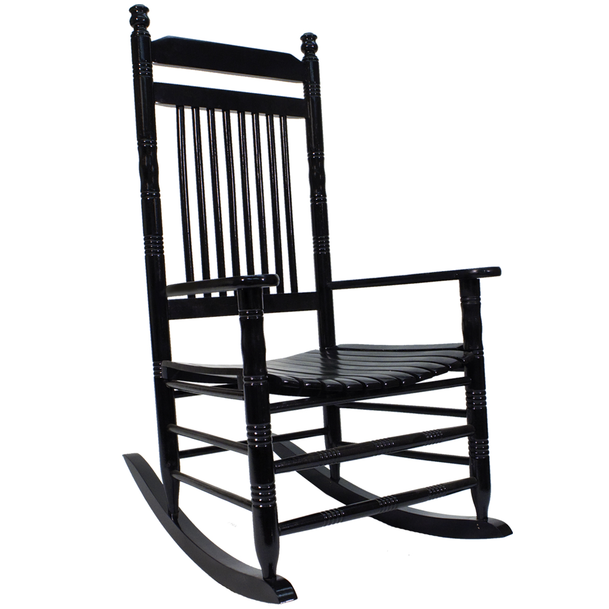 Slat Rocking Chair   Black