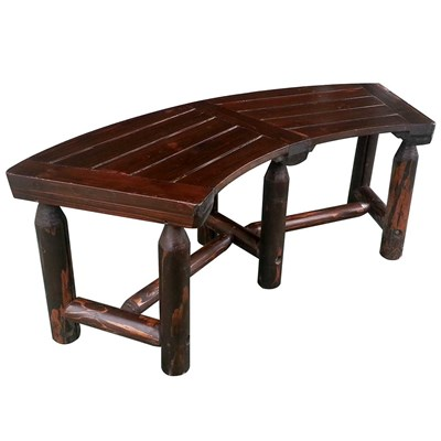Char-Log Wooden Curved Bench