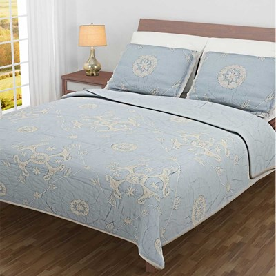 Rachel Cotton Blue Embroidered Quilt - King