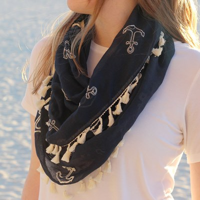 Anchor Scarf with Tassels