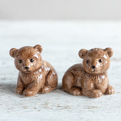 Stoneware Bear Cub Salt and Pepper Shaker Set