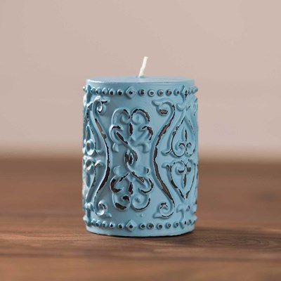 "Light Blue Embossed Pillar Candle - 3"" x 4"""