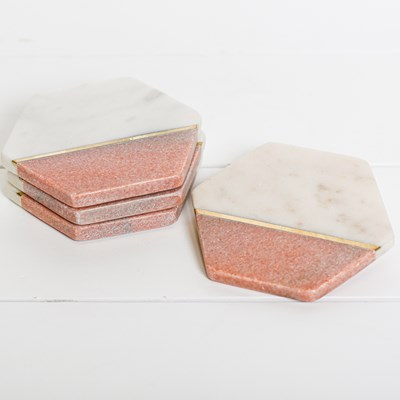 White and Pink Marble Coasters