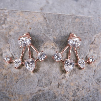 Rose Gold Cubic Zirconia Stud Earring with Enhancer