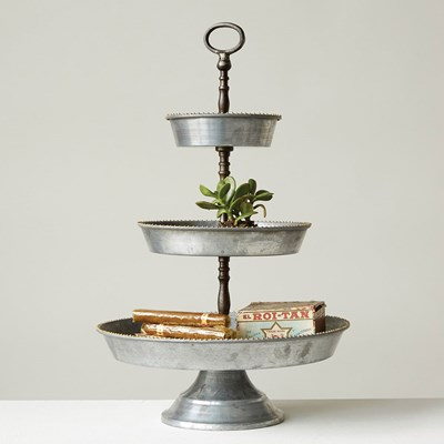 Galvanized Metal 3-Tier Tray with Handle