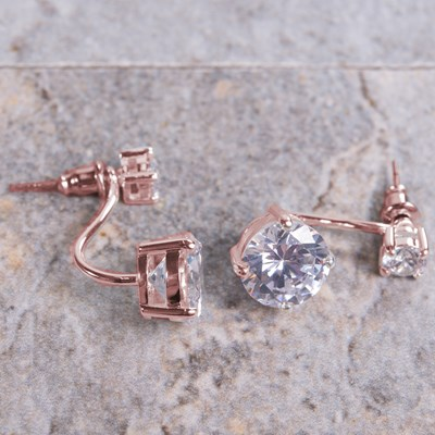 Rose Gold Cubic Zirconia Stud Earring with Drop Jacket