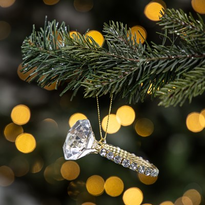Faux Diamond Ring Ornament - Gold