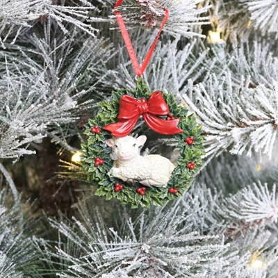 Wreath with Sheep Ornament