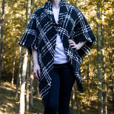 Black and White Window Pane Toggle Shawl