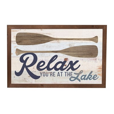 """Relax, You're at the Lake"" Framed Sign"