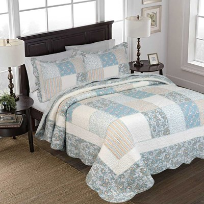 Gennie Blue Ruffle Patchwork Quilt - King