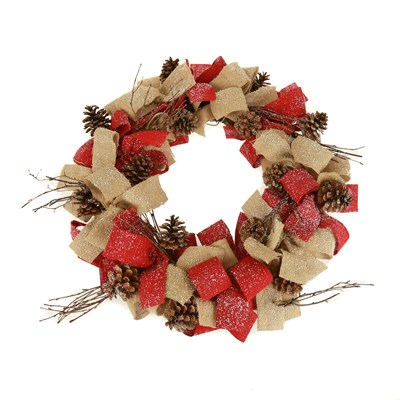 Snow Flocked Burlap and Pinecone Wreath