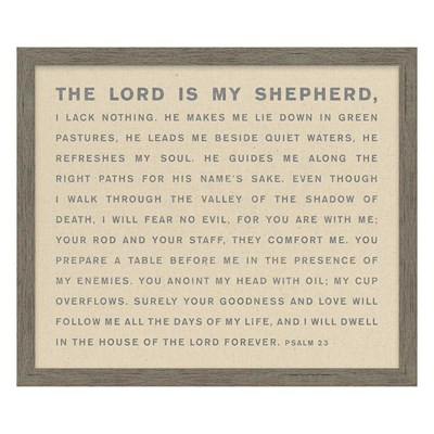 """The Lord Is My Shepherd"" Framed Natural Canvas"