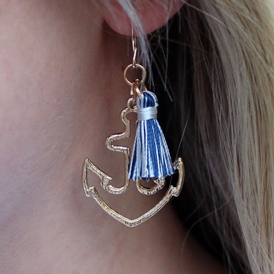 Anchor Earring with Tassel