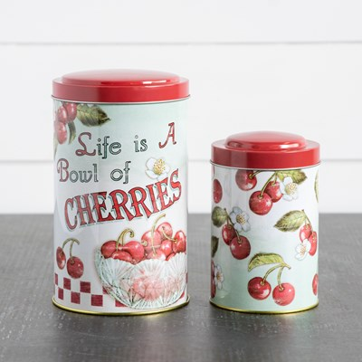 Cherry Metal Canisters - Set of 2