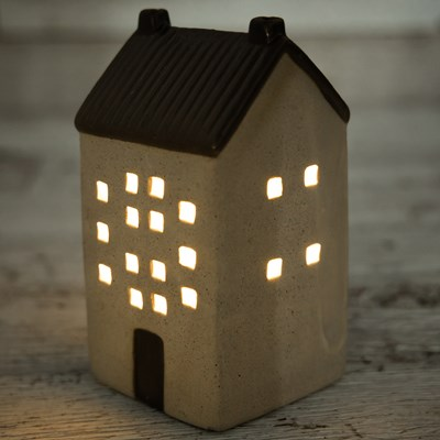 Oh Gussie! LED Stoneware House Decor - Tall/Cream