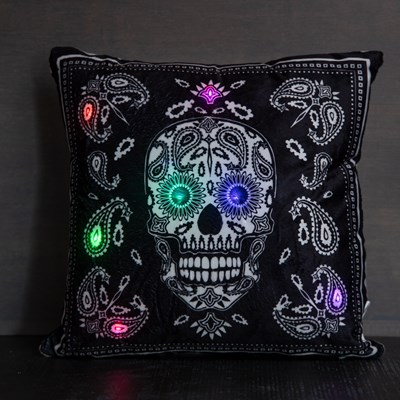 LED Light-Up Sugar Skull Decorative Pillow
