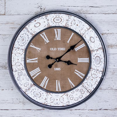 Round Wall Clock with White Border