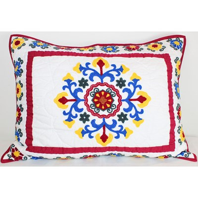 Louise Embroidered Colorful Patchwork Sham