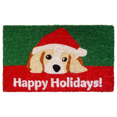 """Happy Holidays"" Handwoven Coir Doormat"