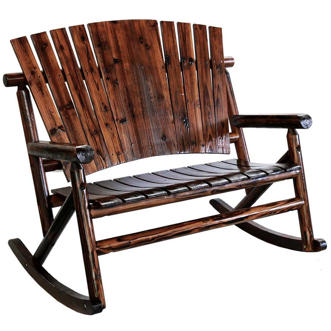 Enjoyable Char Log Wooden Double Rocker Short Links Chair Design For Home Short Linksinfo