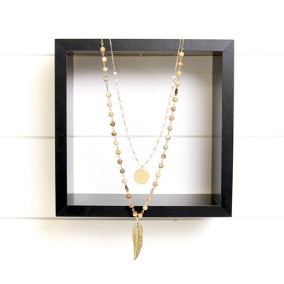 Layered Beaded Gold Leaf Necklace