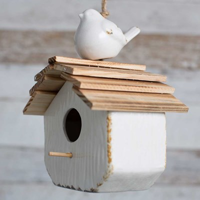 Ceramic Birdhouse with Wooden Roof