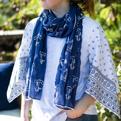 Anchor Embroidered Blue Scarf