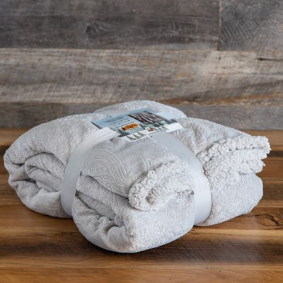 Embossed Hamel Sherpa Throw