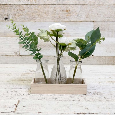 Trio of Glass Vase Arrangements in Wood Tray