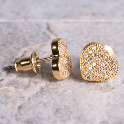 Gold Pave Heart Stud Earring