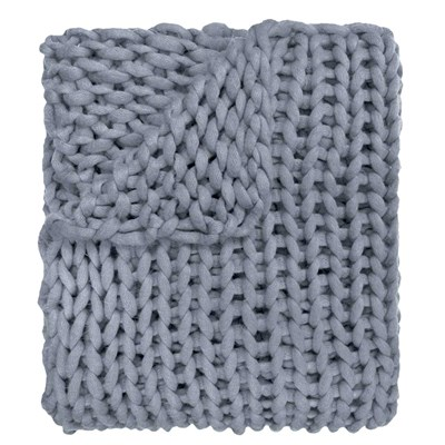 Chunky Knitted Throw - Blue