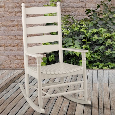 Ladderback Rocker - White