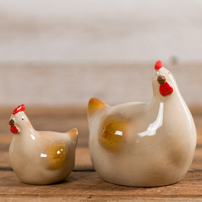 Ceramic Hen Pair