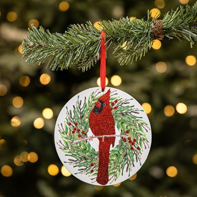 Cardinal in Wreath Plaque Ornament