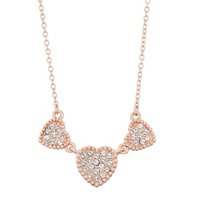 Swarovski Crystal Heart Necklace - 14K Rose Gold